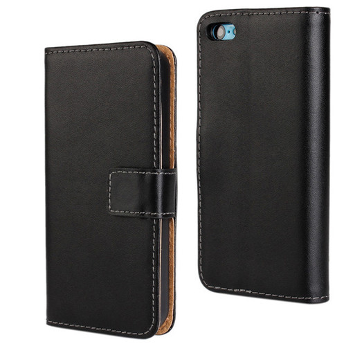 Black Premium Apple iPhone 5C Genuine Leather Wallet Case Cover - 1