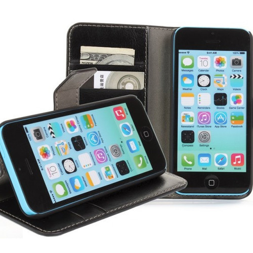 Black Luxury Textured Leather Wallet Stand Case for Apple iPhone 5C - 1