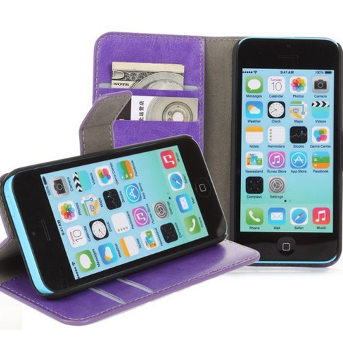 Purple Stylish Textured Leather Wallet Stand Case for Apple iPhone 5C - 1