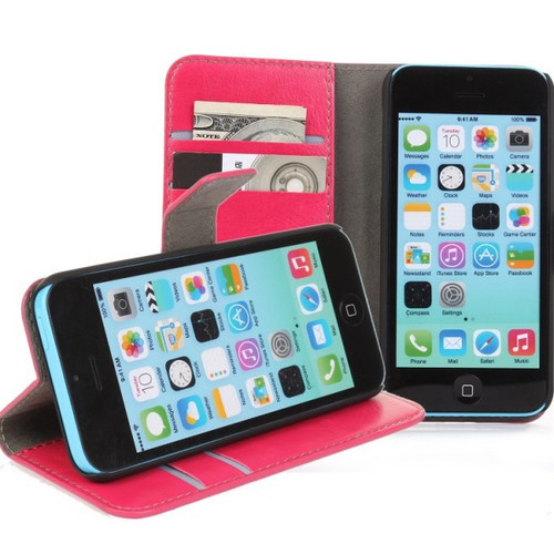 Hot Pink Premium Textured Leather Wallet Stand Case for Apple iPhone 5C - 1