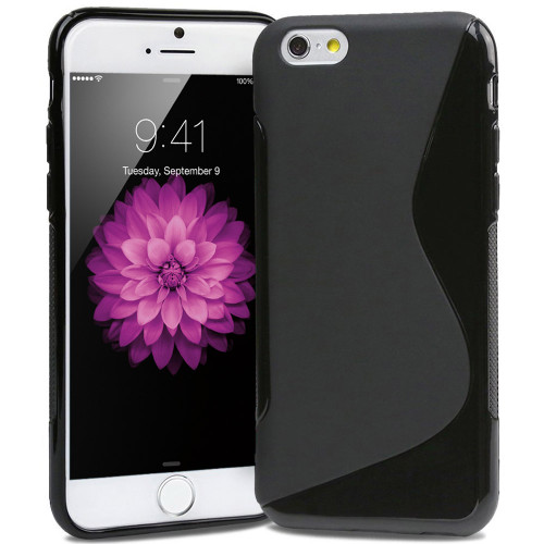 "Black S-Line S-Curve Soft Gel Case For Apple iPhone 6 4.7"" Cover"