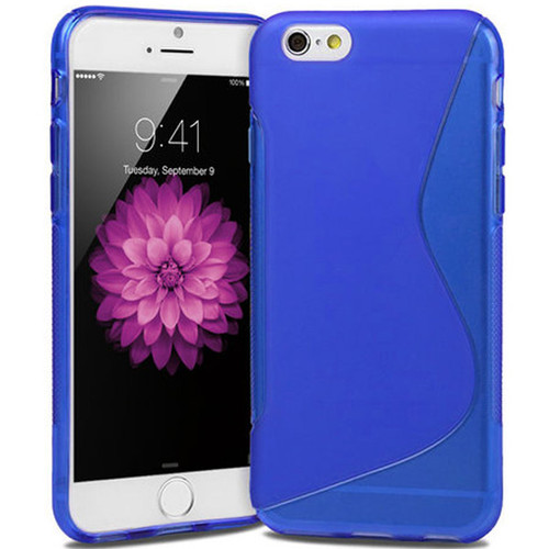 "Blue S Line Wave Gel Silicone Soft Case Cover Apple iPhone 6 / 6S Plus 5.5"" Cover"