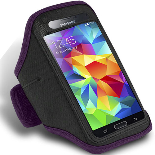 Purple Active Sports Armband Case for Samsung Galaxy S5 Phone Cover