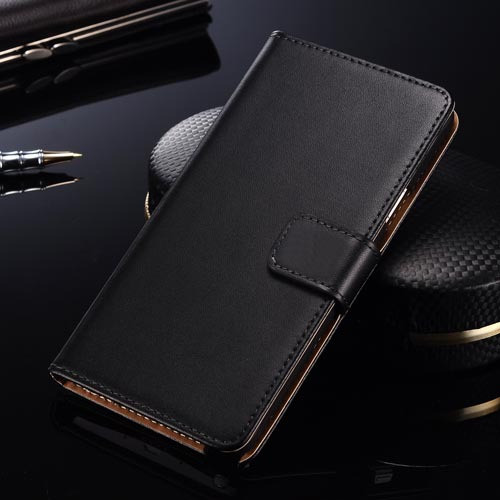Samsung Galaxy S6 Genuine Leather Wallet Case Cover - Black - 1