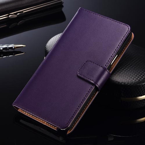 Purple Luxury Samsung Galaxy S6 Genuine Leather Wallet Case Cover - 1