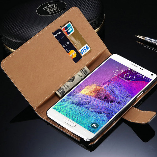 Samsung Galaxy Note 4 Genuine Leather Wallet Case - Black - 1