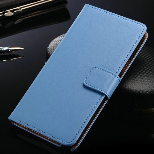 Light Blue Leather Wallet Case For Samsung Galaxy Note 4 Cover - 1
