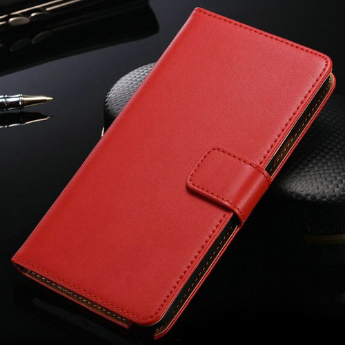 Luxury Red Samsung Galaxy Note 4 Genuine Leather Wallet Case - 1