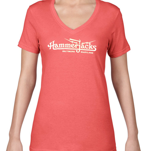 Womens Coral V Neck