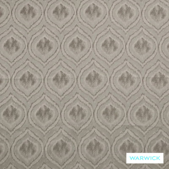 Warwick Antonia Adena Pewter  | Curtain Fabric - Fibre Blends, Geometric, Mediterranean, Ogee, Tan, Taupe, Transitional, Washable, Domestic Use, Standard Width
