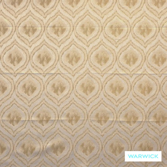 Warwick Antonia Adena Sesame  | Curtain Fabric - Gold,  Yellow, Fibre Blends, Geometric, Linen and Linen Look, Mediterranean, Ogee, Transitional, Washable, Domestic Use