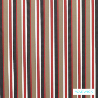 Warwick Bondi Outdoor Mindill Hibiscus  | Curtain & Upholstery fabric - Red, Eclectic, Marine Use, Outdoor Use, Stripe, Synthetic, Traditional, Washable, Bacteria Resistant