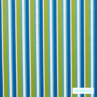 Warwick Bondi Outdoor Mindill Lime  | Curtain & Upholstery fabric - Blue, Eclectic, Marine Use, Outdoor Use, Stripe, Synthetic, Traditional, Washable, Bacteria Resistant, Halo