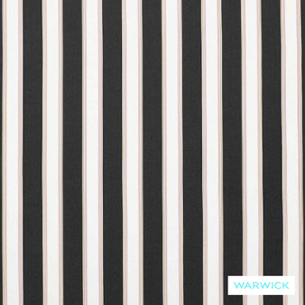 Warwick Bondi Outdoor Waikiki Ash  | Curtain & Upholstery fabric - Black - Charcoal, Marine Use, Outdoor Use, Stripe, Synthetic, Traditional, Washable, Bacteria Resistant