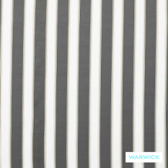 Warwick Bondi Outdoor Waikiki Pebble  | Curtain & Upholstery fabric - Washable, Black, Charcoal, Stripe, Traditional, Outdoor Use, Insect Resistant