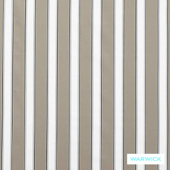 Warwick Bondi Outdoor Waikiki Stone  | Curtain & Upholstery fabric - Brown, White, Marine Use, Outdoor Use, Stripe, Synthetic, Traditional, Washable, Bacteria Resistant, Halo