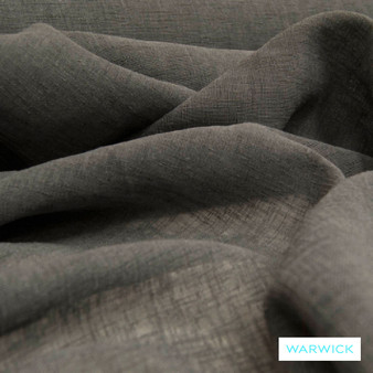 Warwick Chios Corfu Asphalt  | Curtain Sheer Fabric - Brown, Plain, Synthetic, Washable, Domestic Use, Weighted Hem, Wide Width