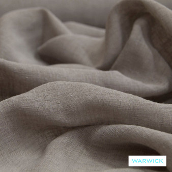 Warwick Chios Corfu Sepia  | Curtain Sheer Fabric - Brown, Plain, Synthetic, Tan, Taupe, Transitional, Washable, Domestic Use, Weighted Hem, Wide Width