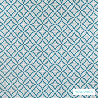 Warwick Coolum Outdoor Turquoise    Curtain & Upholstery fabric - Blue, Diaper, Geometric, Marine Use, Outdoor Use, Synthetic, Turquoise, Teal, Washable, Bacteria Resistant