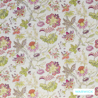 Warwick Cornucopia Brackley Fiesta  | Curtain & Upholstery fabric - Craftsman, Floral, Garden, Jacobean, Natural Fibre, Pink, Purple, Traditional, Washable, Domestic Use