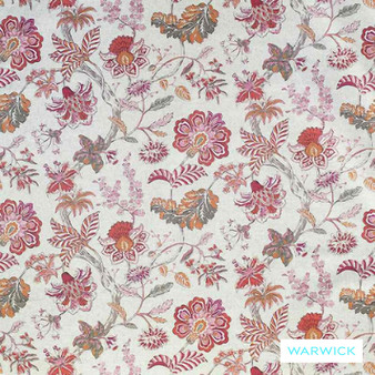 Warwick Cornucopia Brackley Flamingo  | Curtain & Upholstery fabric - Red, Craftsman, Floral, Garden, Jacobean, Natural Fibre, Pink, Purple, Traditional, Washable, Natural