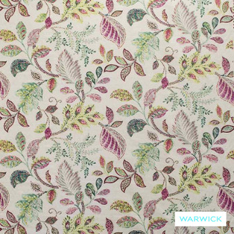 Warwick Cornucopia Birchwood Pop  | Curtain & Upholstery fabric - Red, Craftsman, Floral, Garden, Jacobean, Natural Fibre, Pink, Purple, Traditional, Washable, Domestic Use