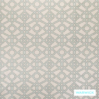 Warwick Cornucopia Pavilion Ocean  | Curtain & Upholstery fabric - Grey, Asian, Geometric, Linen and Linen Look, Mediterranean, Natural Fibre, Pink, Purple, Traditional