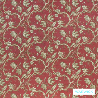 Warwick Cornucopia Tulipano Crimson  | Curtain & Upholstery fabric - Red, Floral, Garden, Pink, Purple, Traditional, Washable, Commercial Use, Domestic Use, Standard Width
