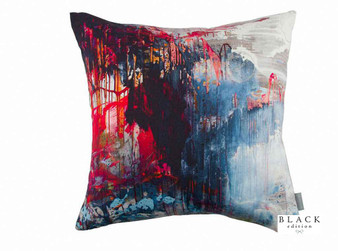 Black Edition - Passion 5 Cushion  | Cushion Fabric - Linen/Linen Look, Black, Charcoal, Blue, Red, Contemporary, Cushion, Dry Clean, Abstract, Print