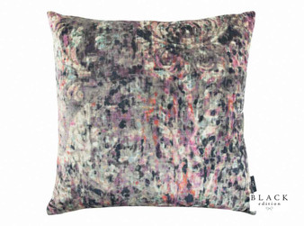 Black Edition - Lombardo 65cm Cushion Zinnia  | Cushion Fabric - Blue, Pink, Purple, Contemporary, Cushion, Dry Clean, Velvets, Abstract, Damask