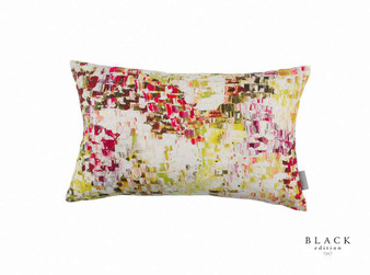 Black Edition - Breathe Cushion - Wild Flower  | Cushion Fabric - Linen/Linen Look, Gold, Yellow, Green, Pink, Purple, Contemporary, Cushion, Print