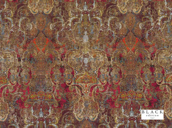 Black Edition - Maroque Cinnabar  | Curtain & Upholstery fabric - Brown, Red, Eclectic, Dry Clean, Velvets, Damask, Print, Fibre Blend, Standard Width