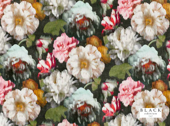 Black Edition - Herbaria Cinnabar  | Curtain & Upholstery fabric - Brown, Red, Contemporary, Floral, Garden, Botantical, Dry Clean, Velvets, Print