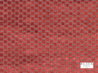 Black Edition - Orosi Cinnabar  | Curtain & Upholstery fabric - Red, Eclectic, Dry Clean, Geometric, Metallic, Velvets, Dots, Spots, Honeycomb