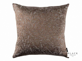 Black Edition - Jarali 50cm Cushion Copper  | - Brown, Traditional, Cushion Cover, Dry Clean, Silk Fabric, Damask, Decorative, Standard Width
