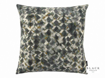 Black Edition - Kaleido 50cm Cushion Oxide  | Cushion Fabric - Grey, Contemporary, Cushion, Dry Clean, Velvets, Abstract, Print, Standard Width