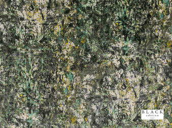 Black Edition - Lombardo Peacock  | Curtain & Upholstery fabric - Gold, Yellow, Green, Contemporary, Dry Clean, Velvets, Abstract, Damask, Print