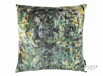 Black Edition - Lombardo 50cm Cushion Peacock  | Cushion Fabric - Gold, Yellow, Green, Contemporary, Cushion, Dry Clean, Velvets, Abstract, Damask