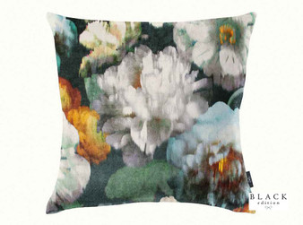 Black Edition - Herbaria 50cm Cushion Peacock  | Cushion Fabric - Green, Contemporary, Floral, Garden, Botantical, Cushion, Dry Clean, Velvets, Print