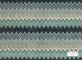Black Edition - Zenith Jasper  | Curtain & Upholstery fabric - Blue, Contemporary, Eclectic, Dry Clean, Geometric, Velvets, Chevron, Zig Zag, Print