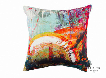 Black Edition - Passion 4 Cushion    Cushion Fabric - Linen/Linen Look, Blue, Gold, Yellow, Orange, Contemporary, Cushion, Dry Clean, Abstract, Print