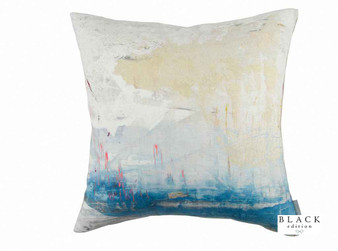 Black Edition - Passion 6 Cushion  | Cushion Fabric - Linen/Linen Look, Blue, Contemporary, Cushion, Dry Clean, Whites, Abstract, Splatter Paint