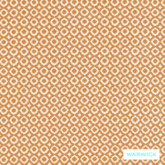 Warwick Mandalay Jaipur Tangerine  | Curtain & Upholstery fabric - Diaper, Geometric, Mediterranean, Moroccan, Natural Fibre, Washable, Domestic Use, Natural, Standard Width