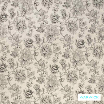 Warwick Mandalay Black  | Curtain & Upholstery fabric - Grey, Black - Charcoal, Farmhouse, Floral, Garden, Natural Fibre, Traditional, Washable, Domestic Use, Natural