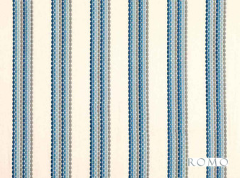 Romo - Cadena Danube  | Curtain Fabric - Linen/Linen Look, Beige, Blue, Tan, Taupe, Stripe, Eclectic, Dry Clean, Embroidery, Fibre Blend