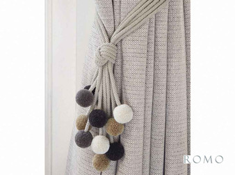 Romo - Rialto Tie Back Charcoal  | Tie back, Curtain Accessory - Black, Charcoal, Grey, Contemporary, Whites, Trimmings, Tie-Back, Fibre Blend