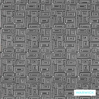 Warwick Monochrome Elvis Platinum    Upholstery Fabric - Grey, White, Black - Charcoal, Contemporary, Geometric, Synthetic, Washable, Commercial Use, Halo, White, B&W