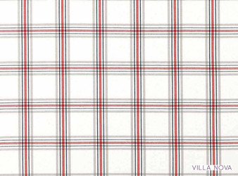 Villa Nova - Lewis Begonia    Curtain & Upholstery fabric - Linen/Linen Look, Grey, Red, Traditional, Dry Clean, Check, Natural, Plaid, Natural Fibre