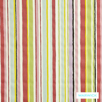 Warwick Playtime Ripley Pink    Curtain Fabric - Red, Contemporary, Midcentury, Natural Fibre, Pink, Purple, Stripe, Tan, Taupe, Traditional, Washable, Domestic Use, Retro