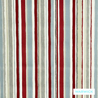 Warwick Playtime Ripley Red  | Curtain Fabric - Red, Contemporary, Midcentury, Natural Fibre, Pink, Purple, Stripe, Traditional, Washable, Domestic Use, Natural, Retro